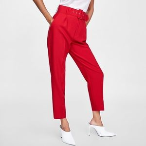Zara red pleated pants with belt